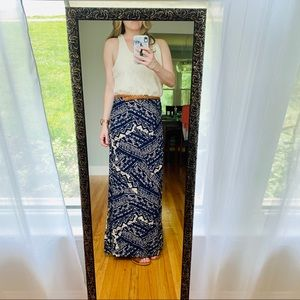 Belted Maxi |Crochet top and Aztec print skirt